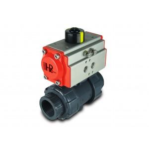 Robinet à boisseau sphérique UPVC 1 1/4 pouce DN32 avec servomoteur pneumatique AT40