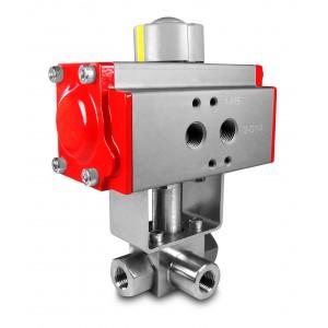 """Robinet à bille haute pression 3 voies 1/4 """"SS304 HB23 avec actionneur pneumatique AT52"""