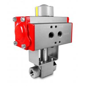 """Robinet à bille haute pression 1/4 """"SS304 HB22 avec actionneur pneumatique AT40"""