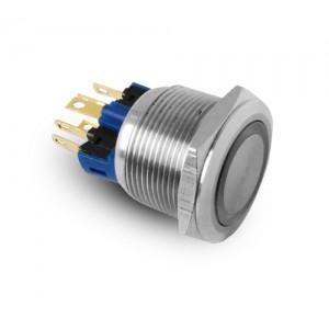Bouton 22mm en acier inoxydable IP65 LED 230V ou 24V bleu momentané