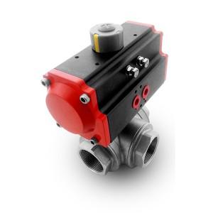 Robinet à tournant sphérique en inox 3 voies DN40 1 1/2 pouce avec servomoteur pneumatique AT75