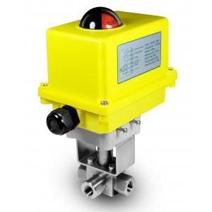 """Robinet à boisseau sphérique 3 voies haute pression 3/8 """"SS304 HB23 avec actionneur électrique A250"""