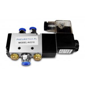 Electrovanne 5/2 4V210 1/4 pouce pour vérins pneumatiques + connecteurs 8mm