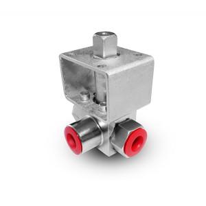 Robinet à boisseau sphérique haute pression 3 voies 1/4 pouce SS304 HB23 plaque de montage ISO5211
