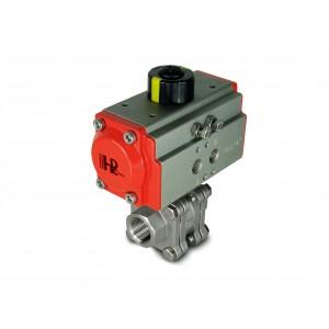 Robinet à tournant sphérique en acier inoxydable 1 pouce DN25 PN125 avec actionneur pneumatique AT52